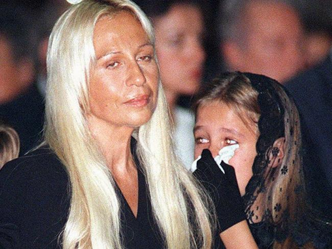 Donatella Versace and daughter Allegra at the 1997 mass for Gianni Versace. Picture: AP