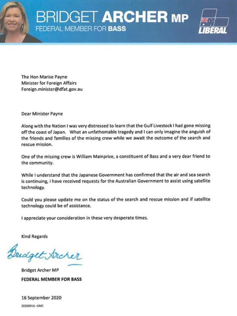 Bridget Archer pens letter to minister for foreign affairs asking for help for the family and friends of the missing crew of Gulf Livestock I. Picture: Facebook