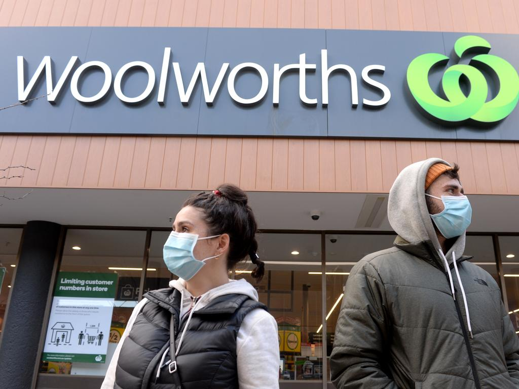 Shoppers outside a Woolworths store in the Melbourne suburb of Prahran. Picture: Andrew Henshaw