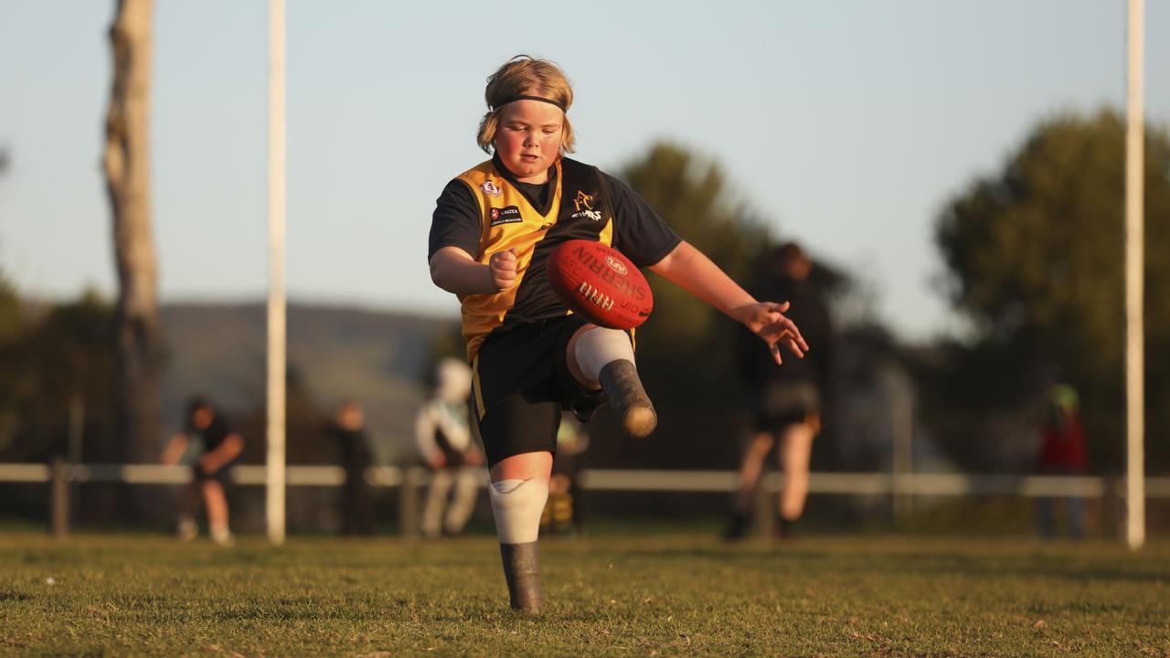 Aldigna under-12 footballer Jett Wortley had his feet amputated when he was 10 months old. Picture: Dean Martin