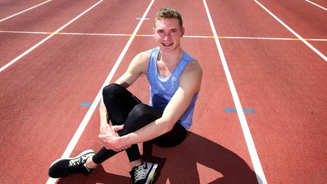 London Olympic 400m finalist Steve Solomon has finally shrugged off three years of injury and is ready to shine as the next Olympic year begins in January. Photographed at the AIS track in Canberra.