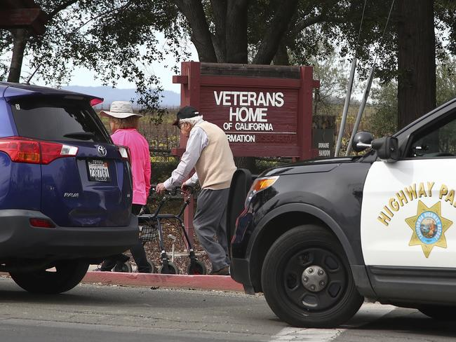 People are evacuated to the information center at the Veterans Home of California in Yountville. Picture: AFP