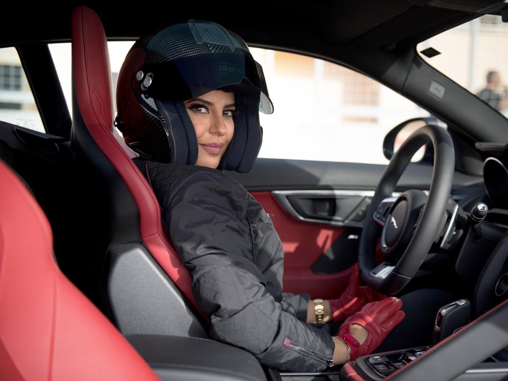 Saudi female racing driver, Aseel Al Hamad prepares to drive for the first time in her home country.