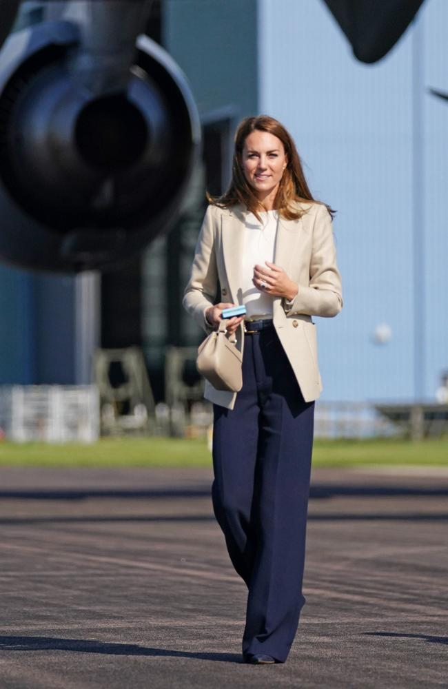 Catherine, Duchess of Cambridge meets those who supported the UK's evacuation of civilians from Afghanistan at RAF Brize Norton. Picture: Steve Parsons/WPA Pool/Getty Images