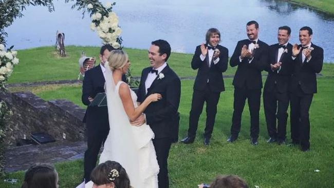 Social media photos show how much the bridal party, including brother of the groom Karl Stefanovic, enjoyed the celebration. Picture: Belinda Russell/Instagram