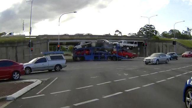 Truck under bridge fail