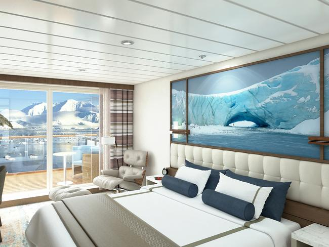 The Junior Suite is 44.4sq m and has a private balcony with an ensuite and lounge. Picture: Aurora Expeditions