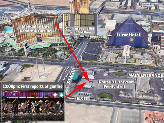 An aerial view of how the Las Vegas shooting unfolded. Picture: news.com.au