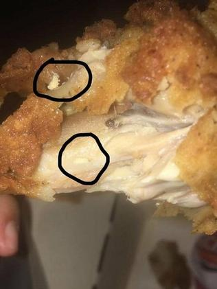 """Melissa Cavanagh posted this photo to Facebook, saying she was """"feeling disgusted"""" after finding the maggot in her KFC meal at Casino."""