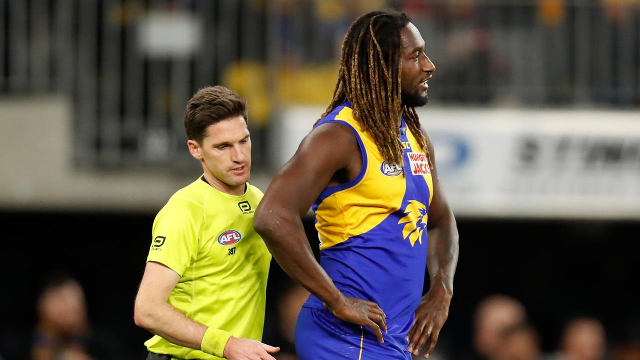 Nic Naitanui was reported for the scuffle. Photo: Michael Willson/AFL Photos via Getty Images.