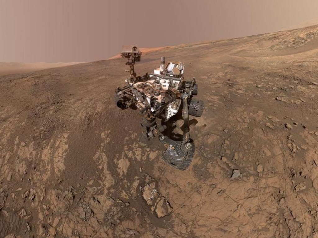 A later selfie was taken by Curiosity in February 2018, showing the vehicle on Vera Rubin Ridge. In the distance, just behind Curiosity, is Mount Sharp, which is a key research area for the rover. Picture: NASA