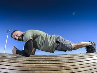 Planking guinness World Record - to raise money for CRPS. Daniel Scali has just been approved to attempt to break the Guinness World Record for the world's longest abdominal plank. Pictured at Henley Square. Friday 30 April  2021 Pic Roy VanDerVegt