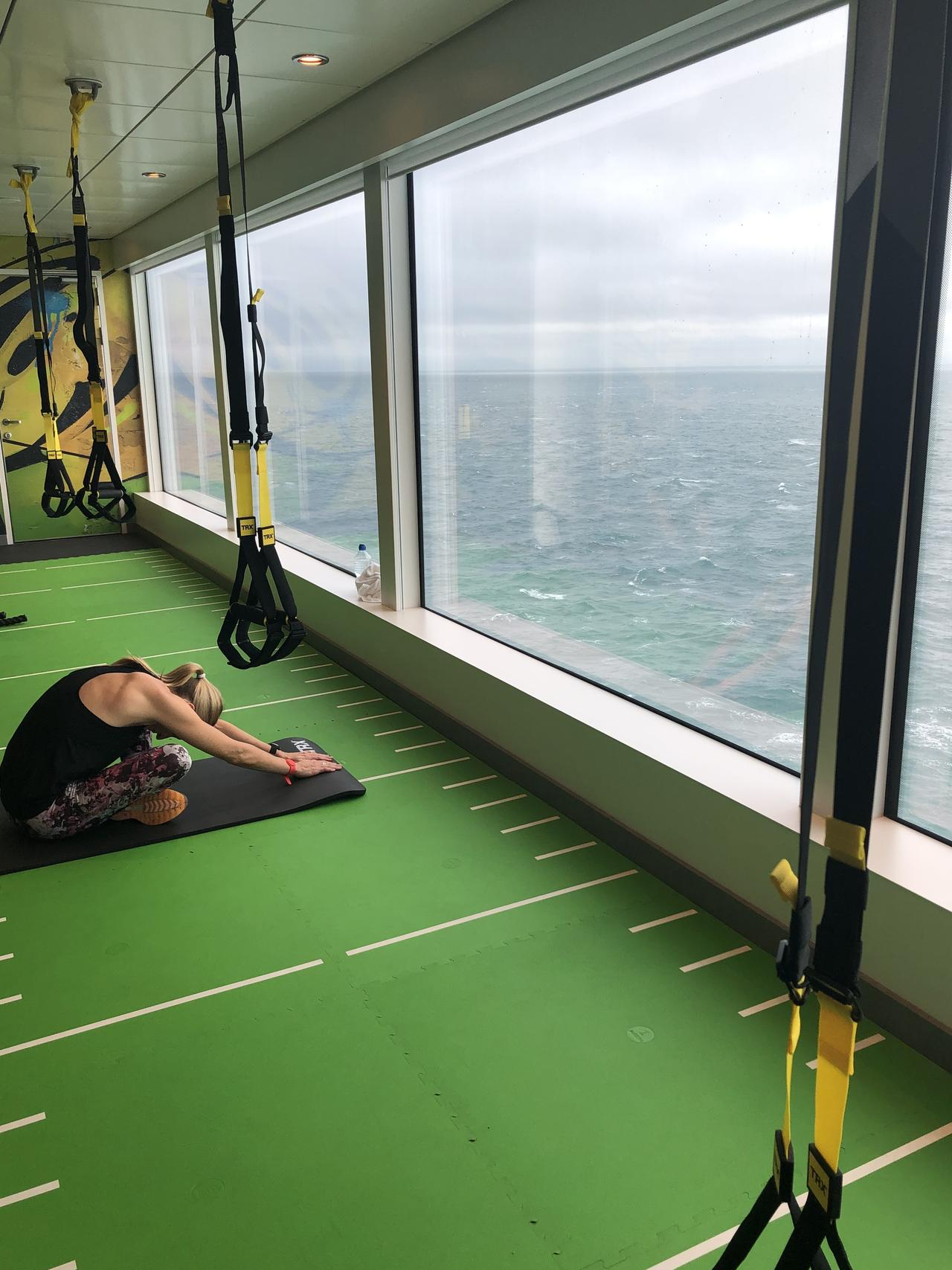 Not a bad place to do exercise. On board the Norwegian Encore