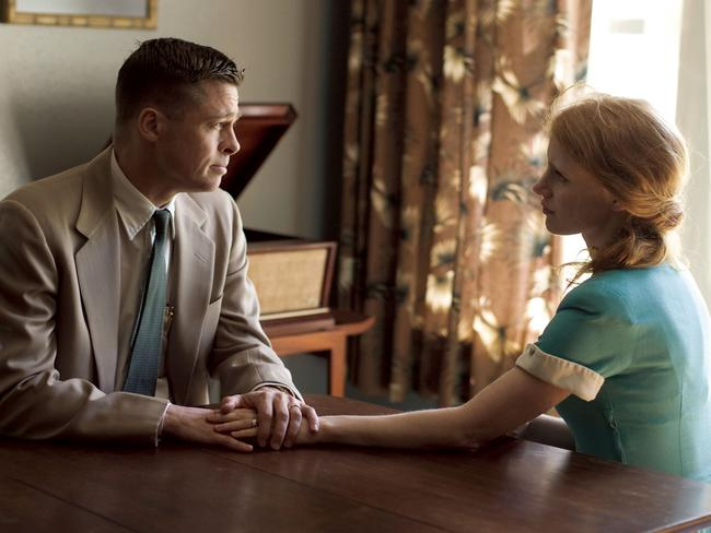 Hollywood stars ... Brad Pitt and Jessica Chastain in a scene from 2011 film 'The Tree of Life'. Picture: Supplied