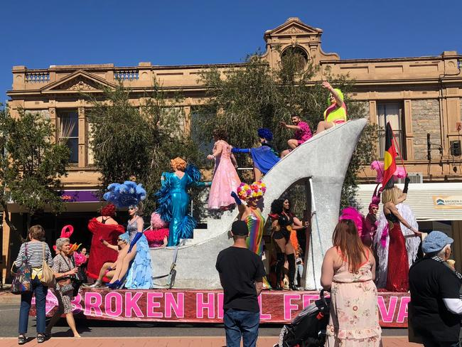 Drag queens atop the giant stiletto on Broken Hill's main street.