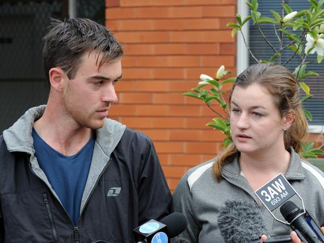 Ella and Mitchell Tromp address the media at Monbulk police station after the disappearance of their parents Jacoba and Mark Tromp in NSW. Picture: Andrew Henshaw