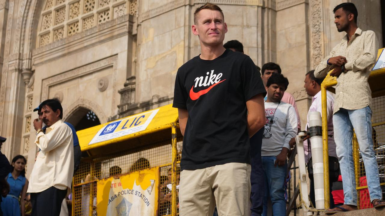 Marnus Labuschagne takes in the sights in Mumbai.