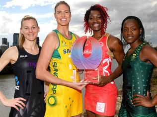 (L-R) Team Captains Katrina Grant of New Zealand, Caitlin Bassett of Australia, Ama Agbeze of England and Bongiwe Msomi of Such Africa pose for a photo for the upcoming Netball Quad Series, Brisbane, Australia, August 25th 2017. (Photo by Bradley Kanaris/AAP)
