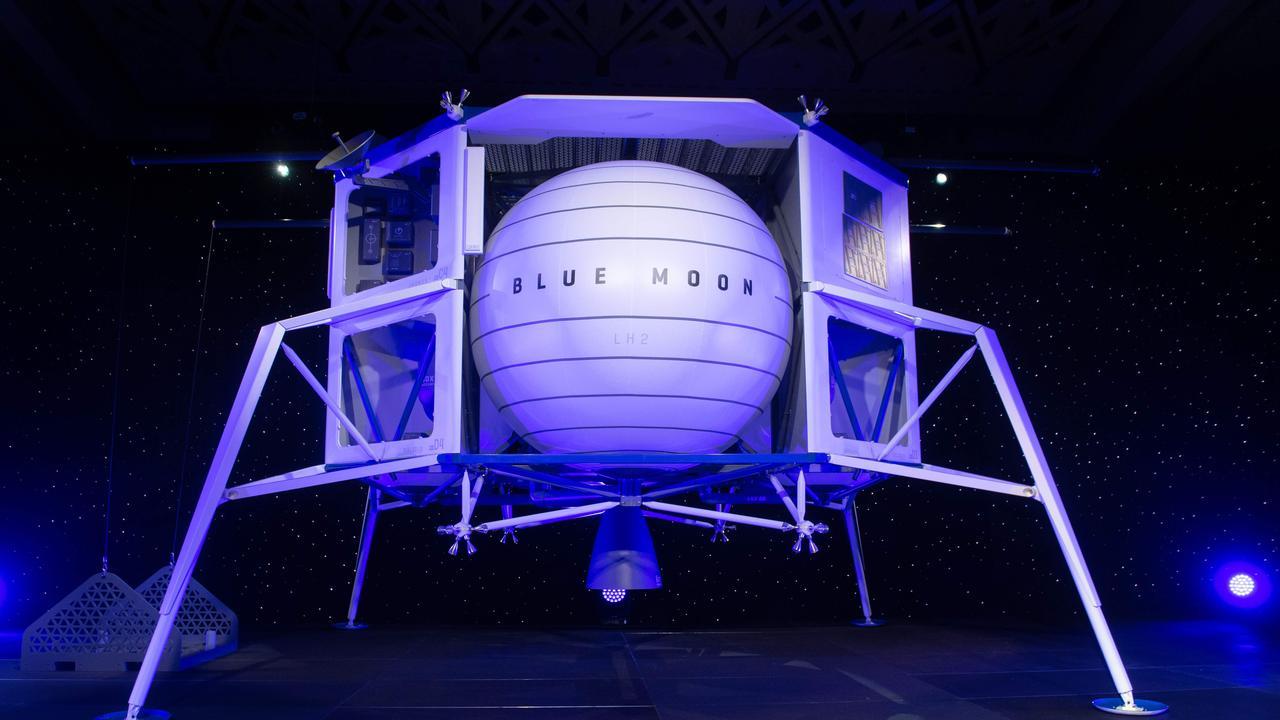 A model of Blue Origin's Blue Moon lunar lander. Picture: Saul Loeb/AFP