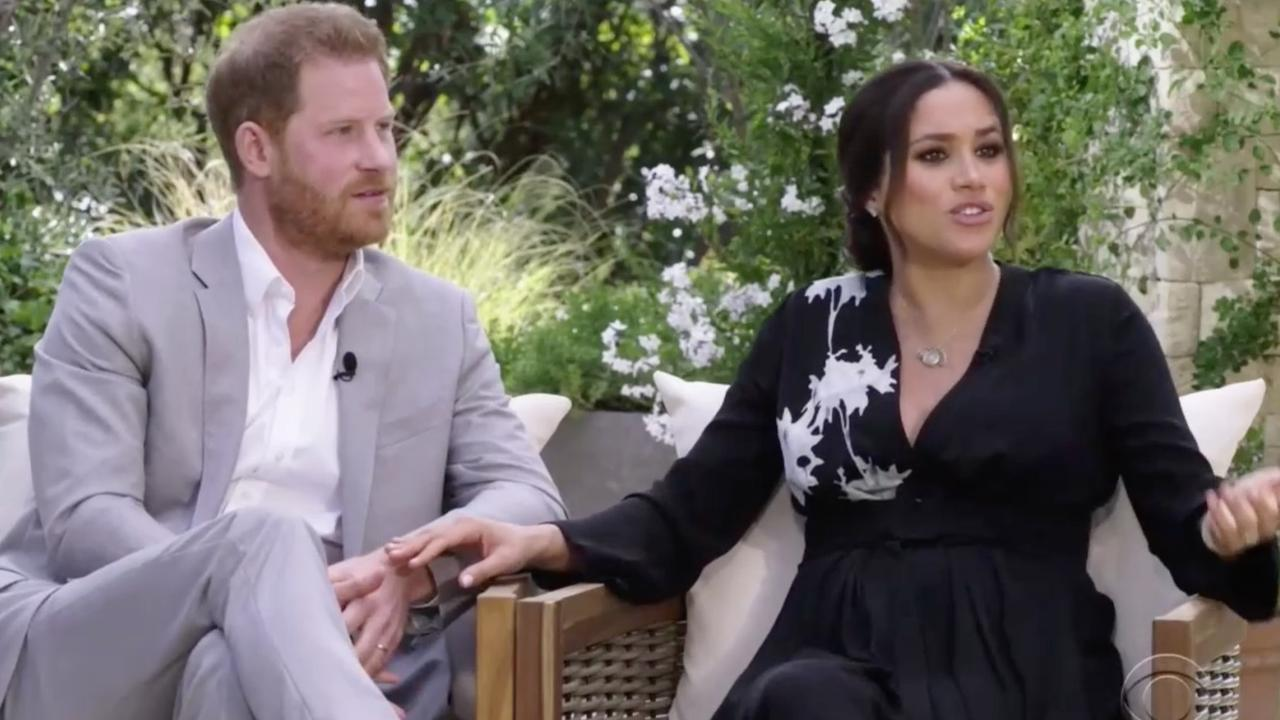 The palace was never going to retaliate to Harry and Meghan's Oprah interview with anger. Picture: CBS