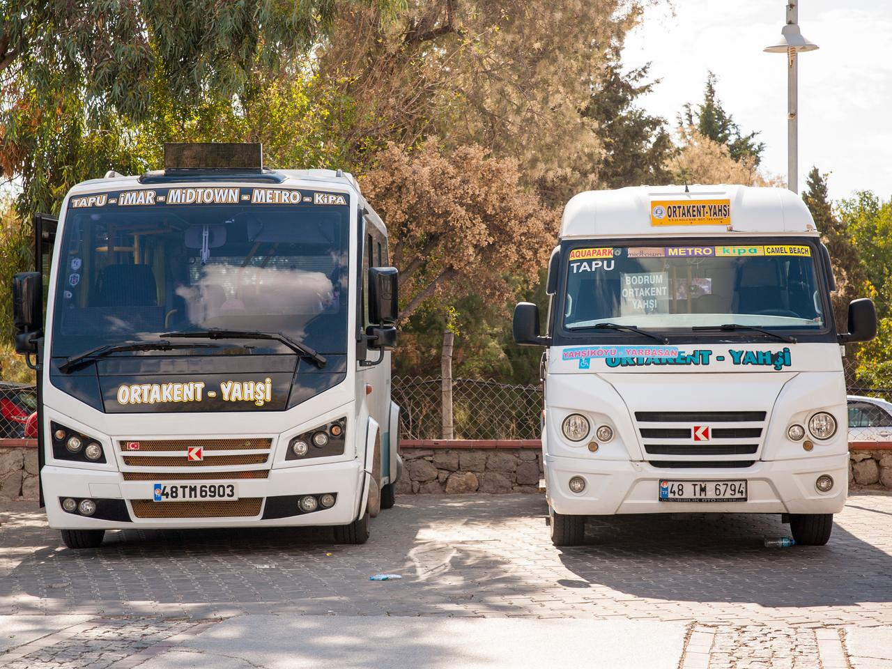 A bus station, with two dolmus awaiting their passengers.
