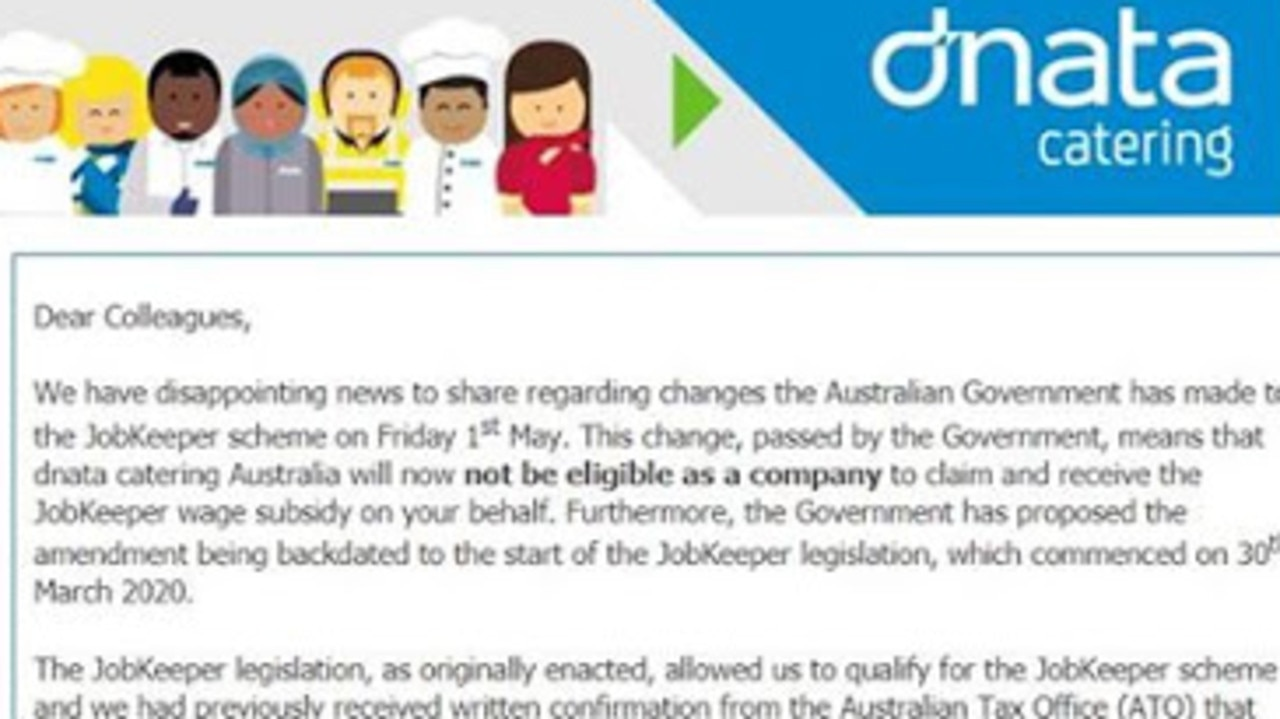 Dnata told its employees on Monday they would not be eligible for JobKeeper.