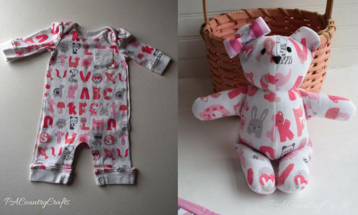 "This gorgeous teddy bear is the perfect way to recycle a sleepsuit with a pretty pattern.  <a href=""http://pacountrycrafts.com/baby-clothes-memory-bear-pattern-and-tutorial/"">Head to PA Country Crafts for the full instructions</a>"