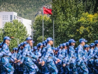 JINAN, CHINA - SEPTEMBER 09: Freshmen attend a military training at Shandong University of Arts on September 9, 2021 in Jinan, Shandong Province of China. (Photo by VCG/VCG via Getty Images)