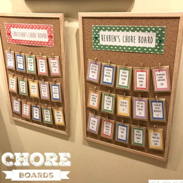 Rachel shared the colour-coded 'chore board' on her Instagram page This Mum Makes. Picture: this_mum_makes/Rachel Riley