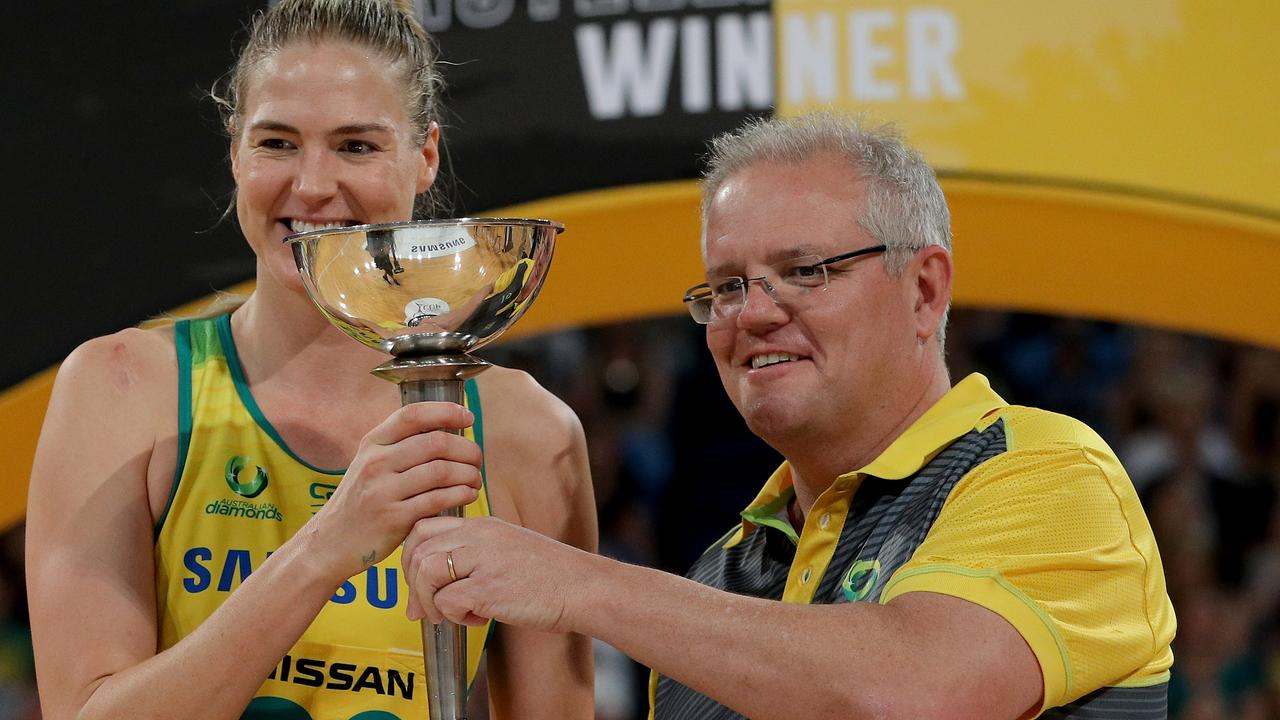 Prime Minister Scott Morrison attended the Constellation Cup at RAC Arena in Perth on Sunday. Picture: AAP Image/Richard Wainwright.