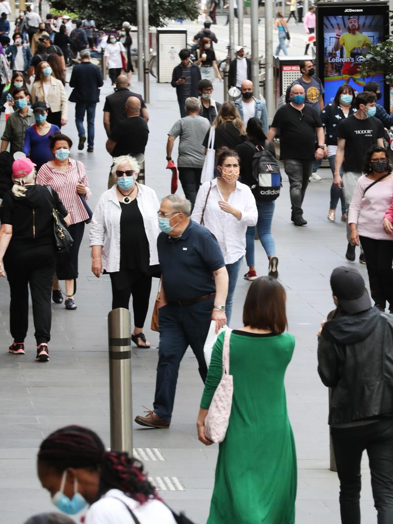 A packed Bourke Street Mall on Saturday. Picture: NCA NewsWire/ David Crosling