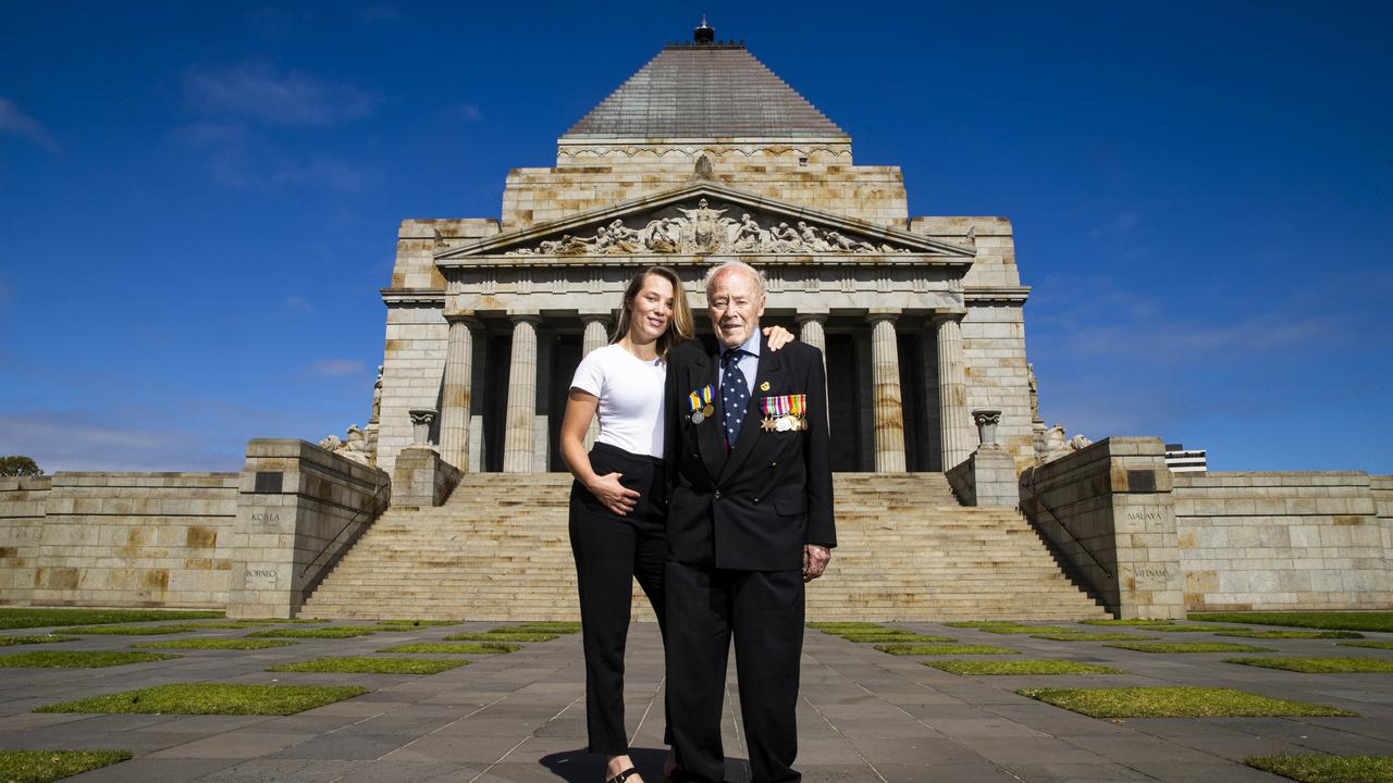 96-year-old WWII veteran Nevin Phillips with his granddaughter Lauren at the Shrine of Remembrance in Melbourne. Picture: Aaron Francis/The Australian.