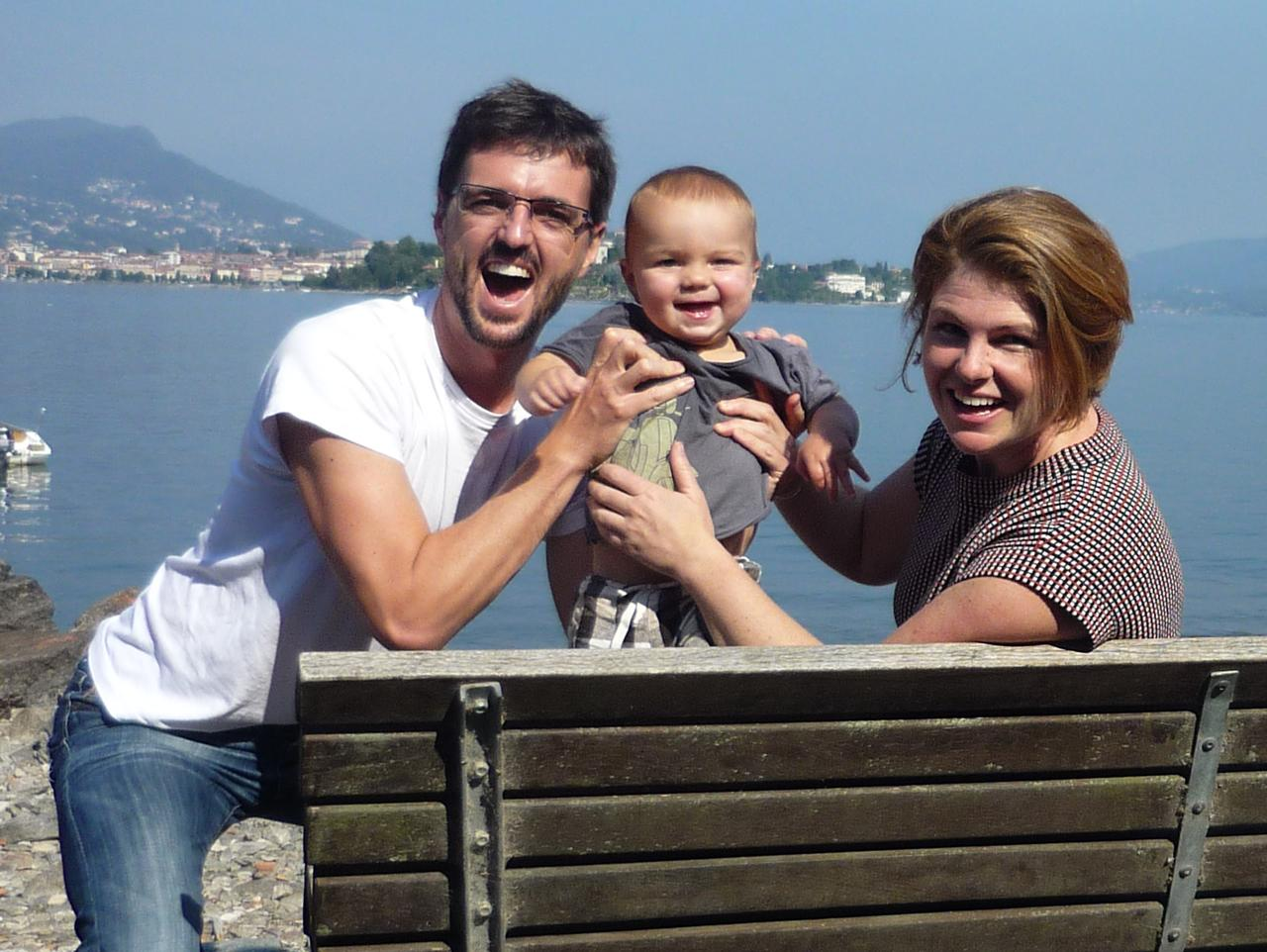 Supplied News News Corp Aust reporter John Rolfe, wife Kate and their son Carter (11 months) at Stresa, Italy. Fo