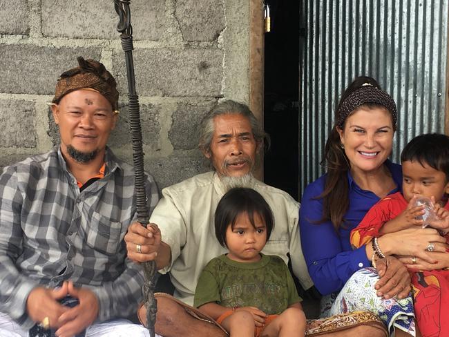 Made Karyasa, Mangku Bon and Sharon Karyasa with Mr Bon's grandchildren. Picture: Sharon Karyasa