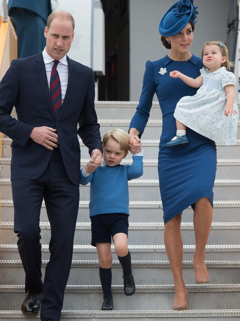 Only when he was 35 did Prince William become a full-time working member of the royal family. The Cambridges are shown here in a visit to Canada in 2016. Picture: AFP PHOTO.