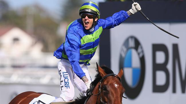 Nick Hall celebrates Jameka's dominant Caulfield Cup victory. Picture: Getty Images