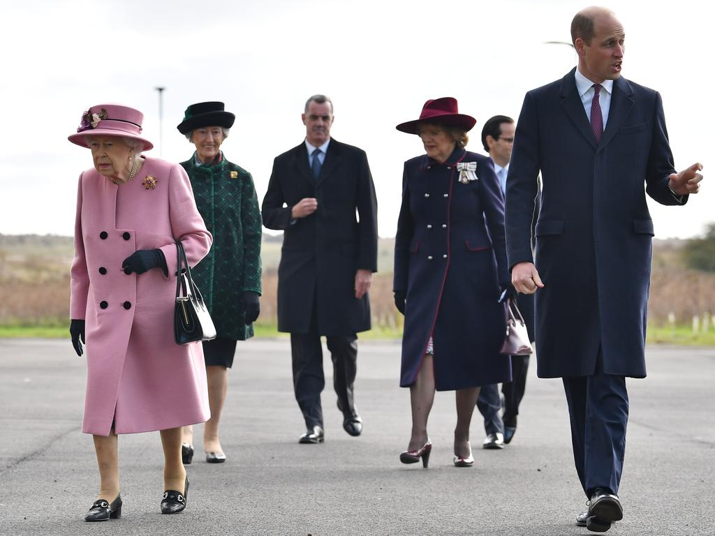 Queen Elizabeth and Prince William arrive at the Energetics Analysis Centre as they visit the Defence Science and Technology Laboratory near Salisbury, England. Picture: Ben Stansall/Getty Images