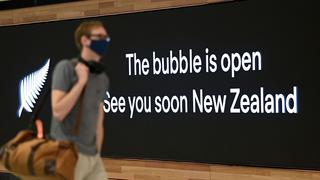 SYDNEY, AUSTRALIA - NewsWire Photos APRIL, 19, 2021: Signage is seen as travellers depart for New Zealand at Sydney International Airport, Sydney. Travellers between Australia and New Zealand are now allowed to enter each country without mandatory hotel quarantine as the Trans-Tasman bubble opens up. Picture: NCA NewsWire/Bianca De Marchi