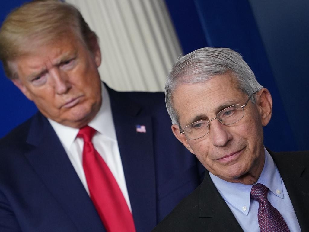 Mr Trump with Dr Fauci. Picture: Mandel Ngan/AFP