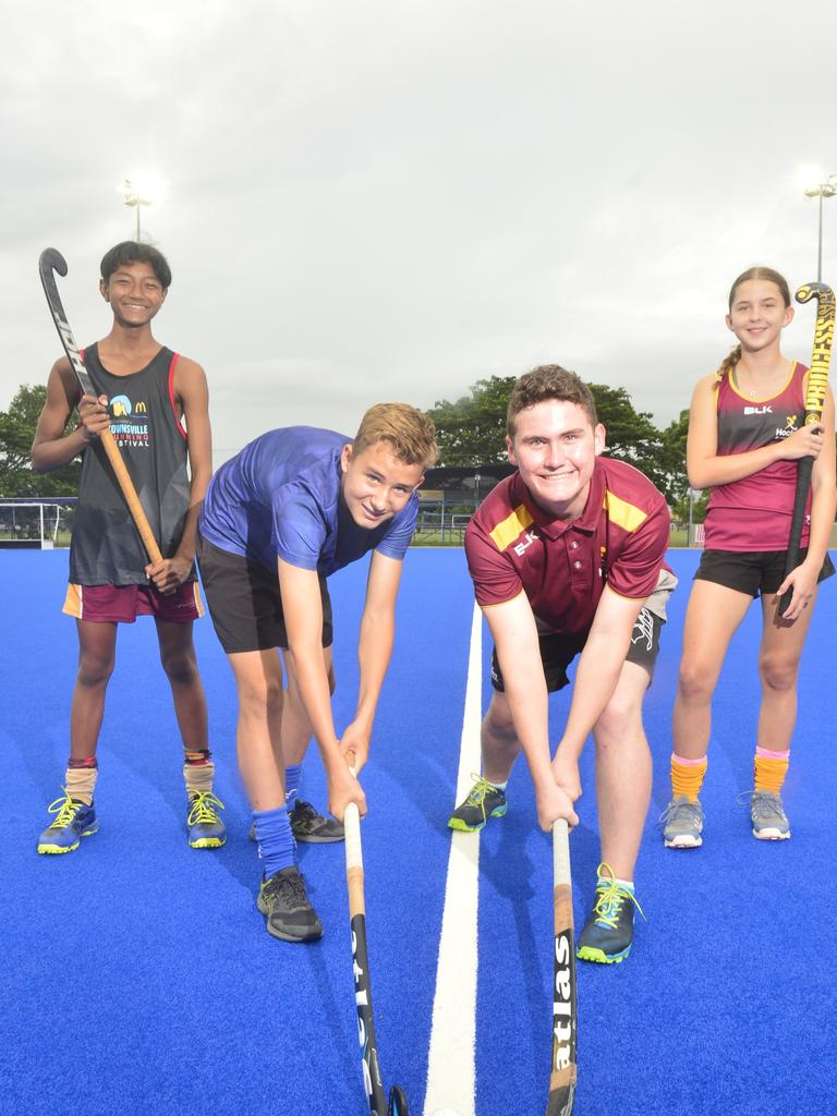 Townsville hockey players Chandarayuth Sary, Boedy Johnston, Brock Philip and Sophie Davis have been selected in the Queensland Hockey under-15 state squads ahead of the National Championships. Picture: MATTHEW ELKERTON