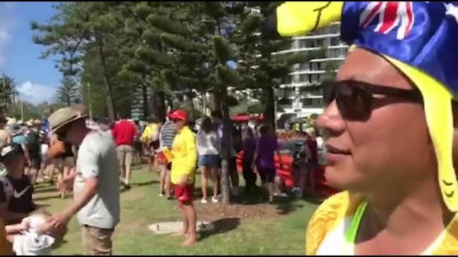 Beach volleyball fans Gregor Salvin and Nam Pham are two sweaty kangaroos