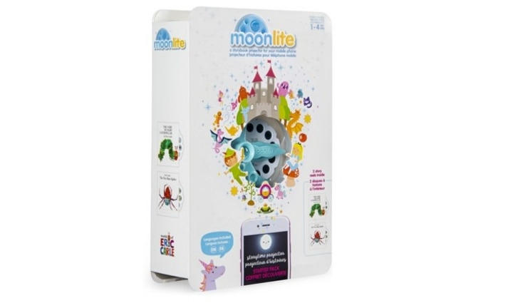 <b>MOONLITE PROJECTOR STARTER PACK.</b>  This gorgeous device takes the bedtime story to a whole new level! Just clip the projector onto your phone or smart device and load one of the two reels, projecting stories up onto the wall or the ceiling to make storytime an even more beautiful experience.