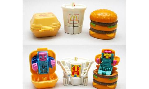 "<b>MCDONALDS CHANGEABLES</b><p>These toys might've looked like replica meals on the menu, but they also transformed into cool characters.</p><p>""These were the coolest! I remember having about four of those chips and burgers and never wanted to share – let alone trade my doubles with anyone in the playground,"" says Lisa.""</p>><p><i>Image: Supplied</p></i>"