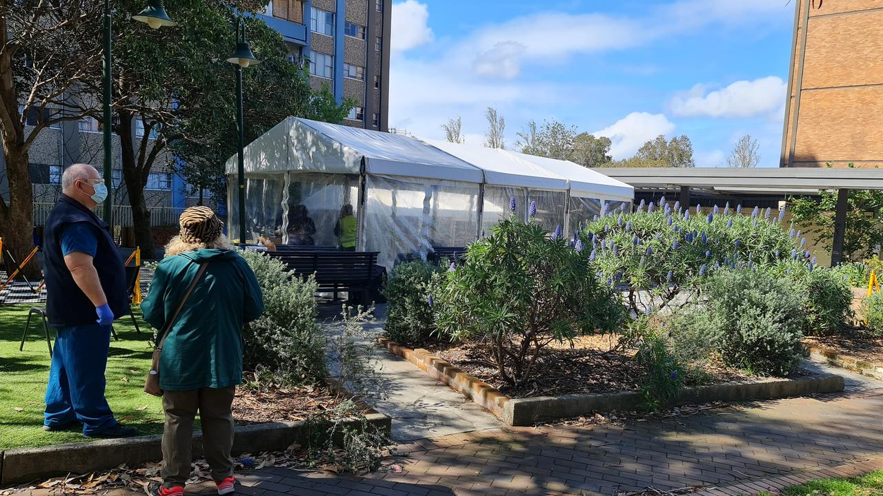 The covid testing tent which has opened on Morehead Street Redfern this week. Picture: Candace Sutton