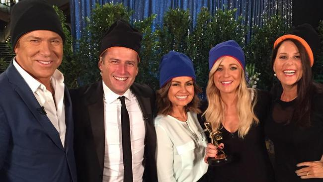 Carrie Bickmore and Julia Morris with the Today Show the morning after the Logies.