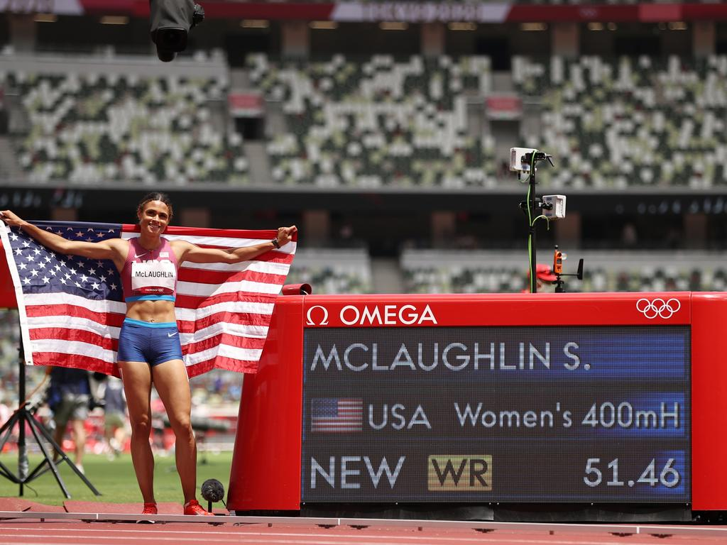 Sydney McLaughlin set a new world record in the women's 400m hurdles final. Picture: Cameron Spencer/Getty Images