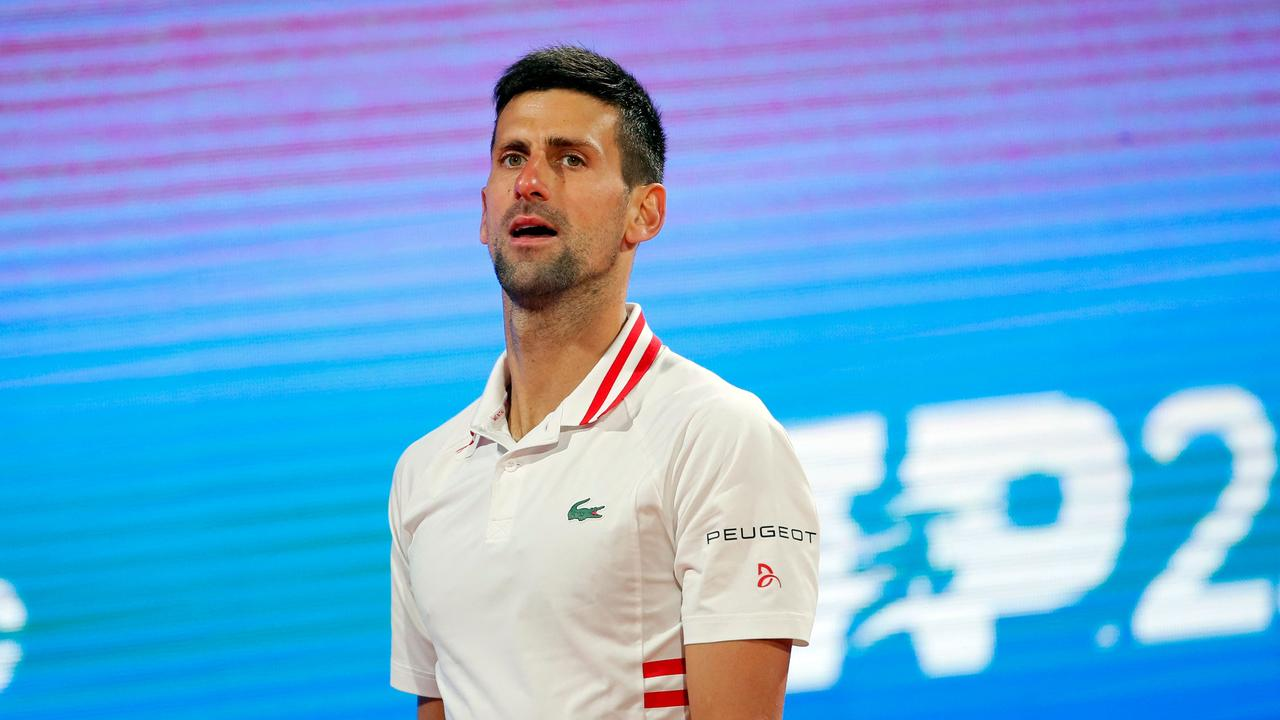 Novak Djokovic reacts during his ATP 250 Serbia Open semi-final singles tennis loss to Russia's Aslan Karatsev at The Novak Tennis Centre in Belgrade on April 24. Photo: AFP