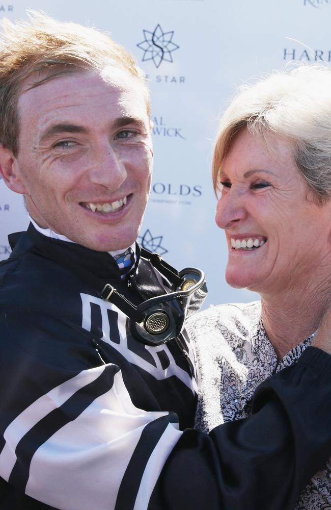 Trainer Jenny Graham hugs jockey Ben Looker after winning the County Championships Final. Picture: Getty Images
