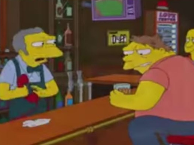Will he ever learn ... Moe is the victim of another one of Bart's prank calls.