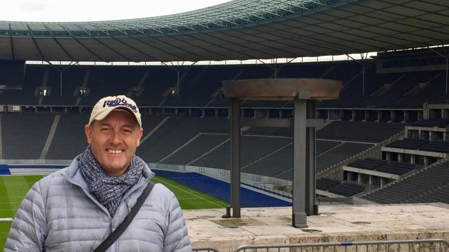 John Burfitt, at Berlin Olympic Stadium, is an Olympic trivia buff. Picture: John Burfitt